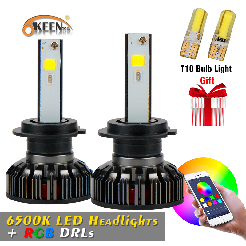 OKEEN 2018 New H4 H7 RGB LED Headlight Bulbs Headlamps Car APP Bluetooth Voice Music Control