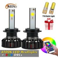 OKEEN 2018 New H4 H7 RGB LED Headlight Bulbs Headlamps Car APP Bluetooth Voice Music Control 6500K Colorful Headlights 12V 24V