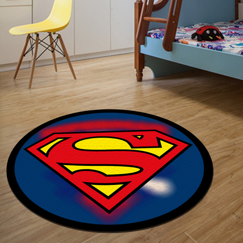 Round Carpet Batman Superman Printed Soft Carpets Anti-slip Rugs Superhero Computer Chair Mat Floor Mat for Home Kids Room