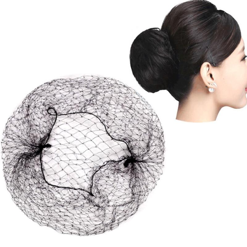 все цены на 10pcs Nylon Hairnets Black Invisible Soft Elastic Lines Hair Net Wigs Weaving Mesh Net Fishnet Ladies Elastic Wig Caps онлайн