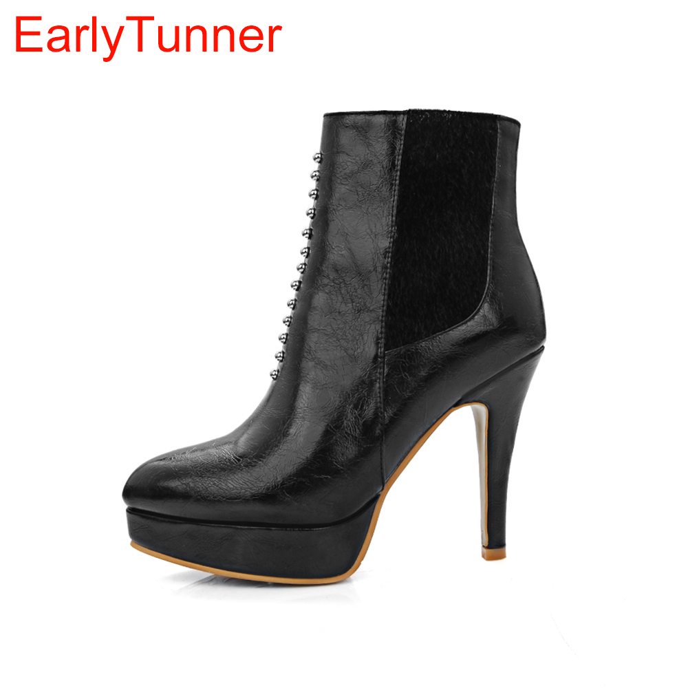 Brand New Sales Women Platform Ankle Nude Boots Red Black Gunmetal Ladies Shoes Horse Fu ...