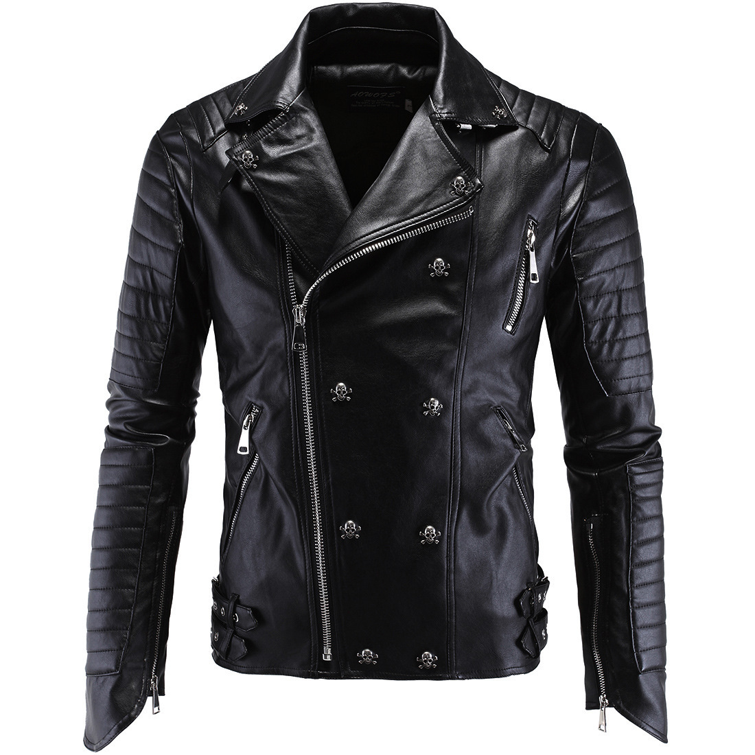 Brand mens High-end punk leather jacket Skull decoration zipper PU coat male slim Harley motorcycle thick leather jacket outwear
