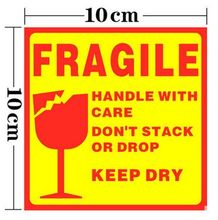 500pcs FRAGILE HANDLE WITH CARE10x10cm Self-adhesive Shipping Label Sticker