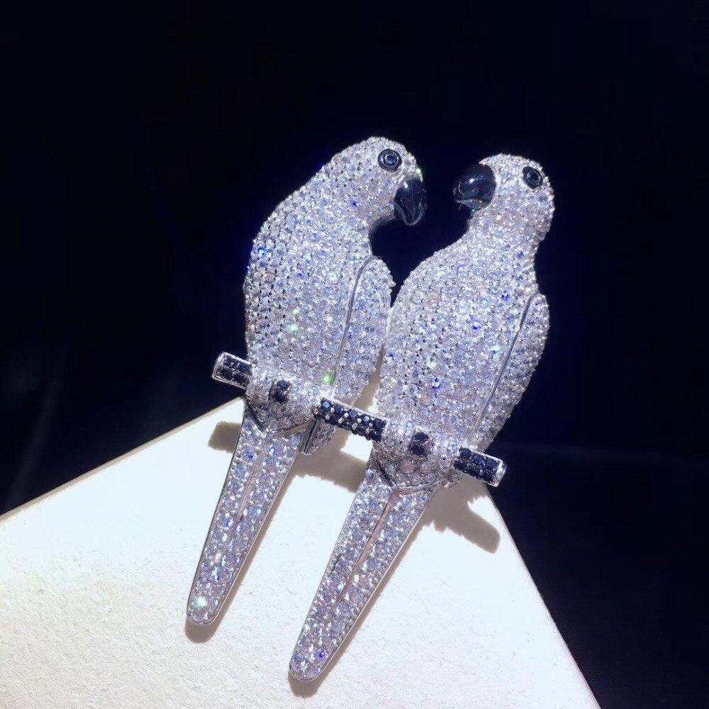 Unisexe broche broches double perroquets broche broches 925 en argent sterling avec zircon cubique top qualité homme femmes bijoux mode