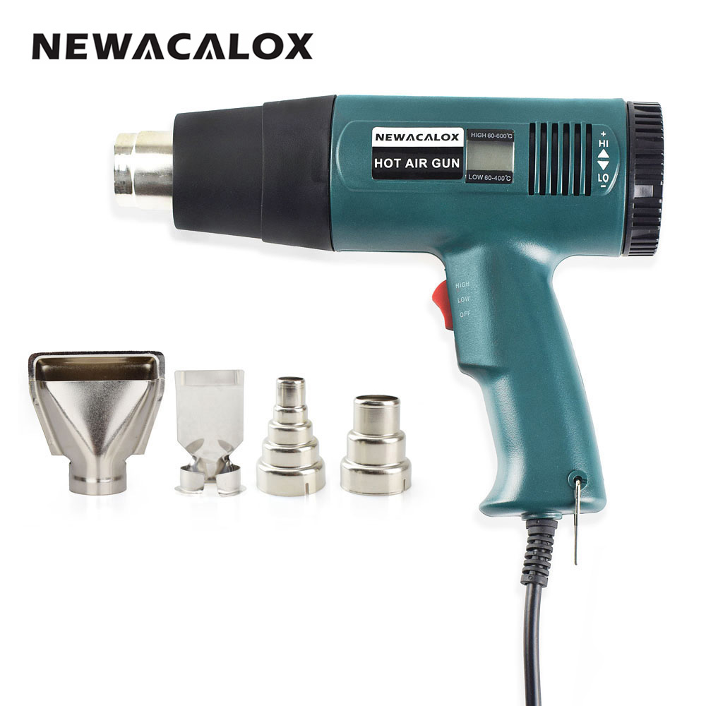 NEWACALOX 1800 Watt 220V EU Plug Industrial Electric Hot Air Gun Thermoregulator Heat Gun Shrink Wrap Digital Thermostat LCD DIY
