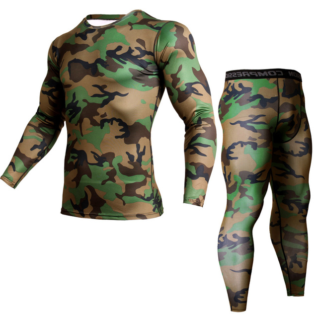 Winter Suit For Men 2 Piece Men Thermal Underwear Camouflage Tracksuit Men MMA Clothing Rashgard kit Bodybuilding T-Shirt XXXL