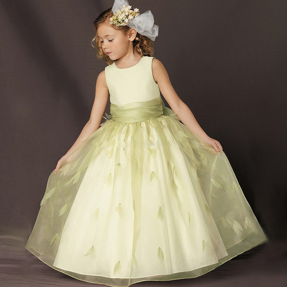 ФОТО Hot Sale A line and ankle length flower girl dresses Sleevelesss Line Appliques wedding for fashion sling birthday