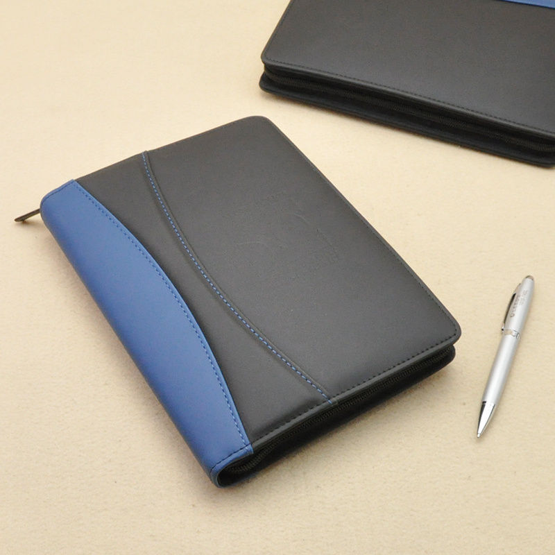 A5 Business Padfolio Briefcase Filing Folder Portfolio With Zipper Notepad Writing Pad Pocket For Cellphone Passport Bag 1182B