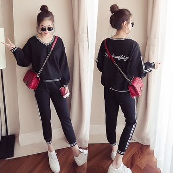 817f8d485f5 Spring and autumn new 2019 Fashion women suit women s tracksuits casual set  with a hood fleece sweatshirt two pieces set