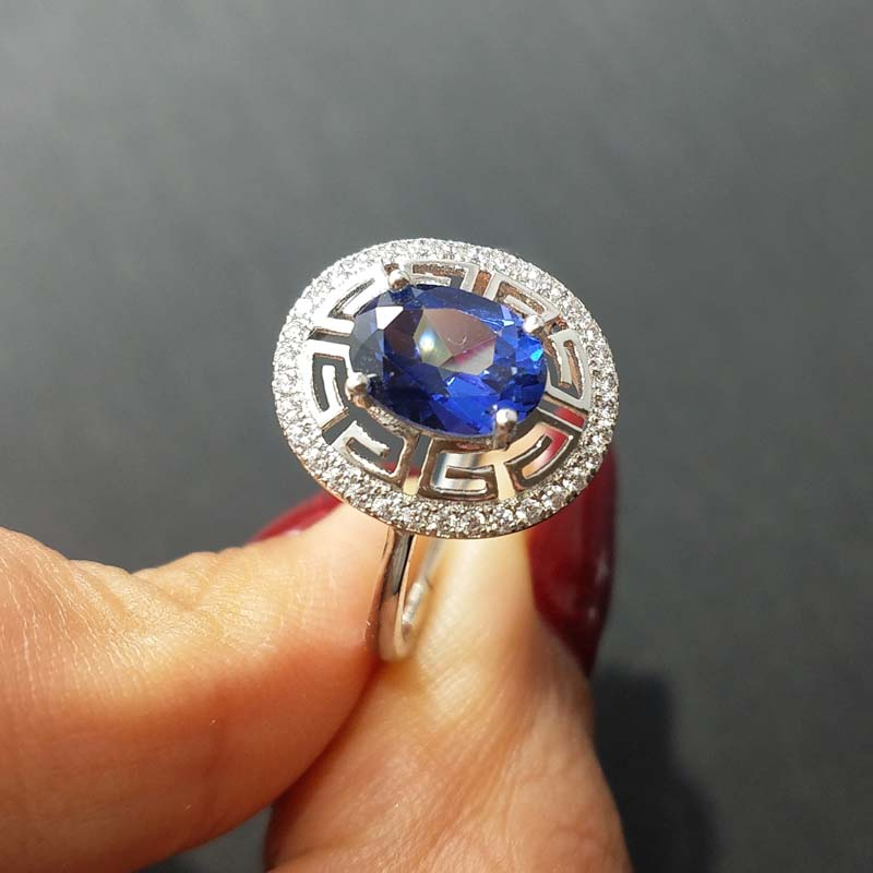 FLZB Tanzanite color topaz ov 6 8mm in 925 sterling silver with gold plated nice charming