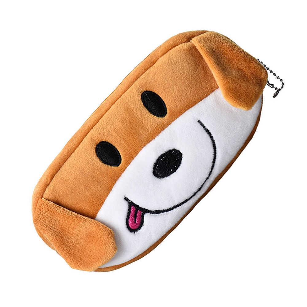 Sevimli köpek görünümlü kalem çantası çocuklar hediye yumuşak peluş kalem çantası durumda çanta erkek kız için okul kaynağı