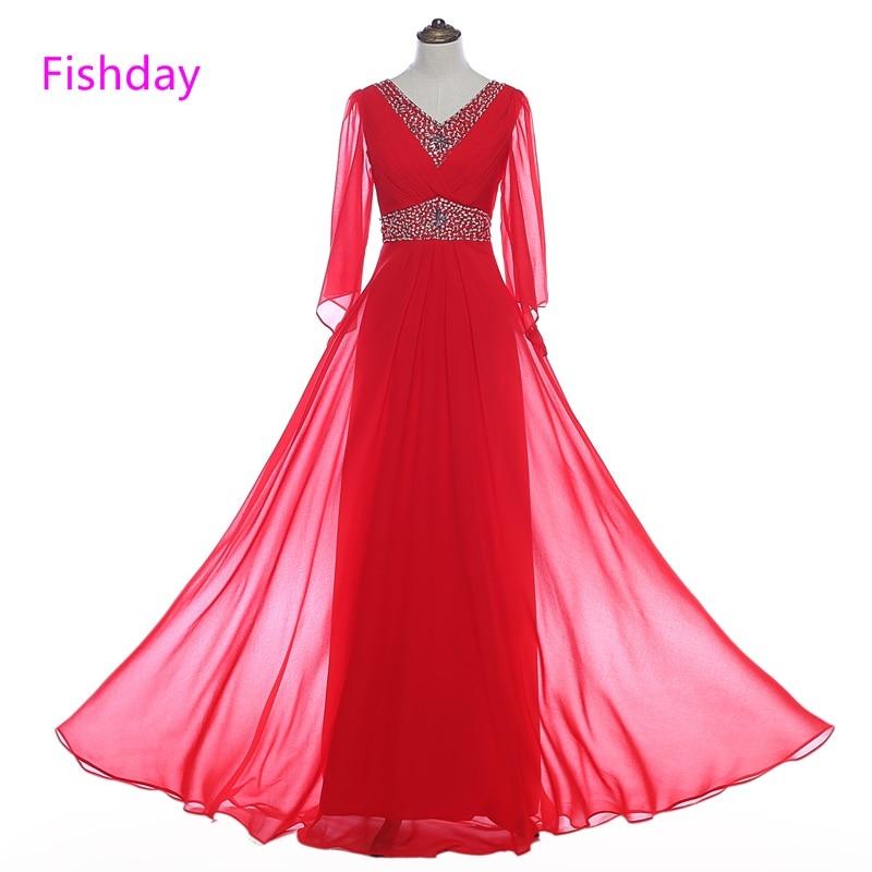 Fishday Long Sleeve Evening Dresses Beads Chiffon Red Elegant Kaftan Women Formal Party Plus Size robe de soiree longue 2018 B30