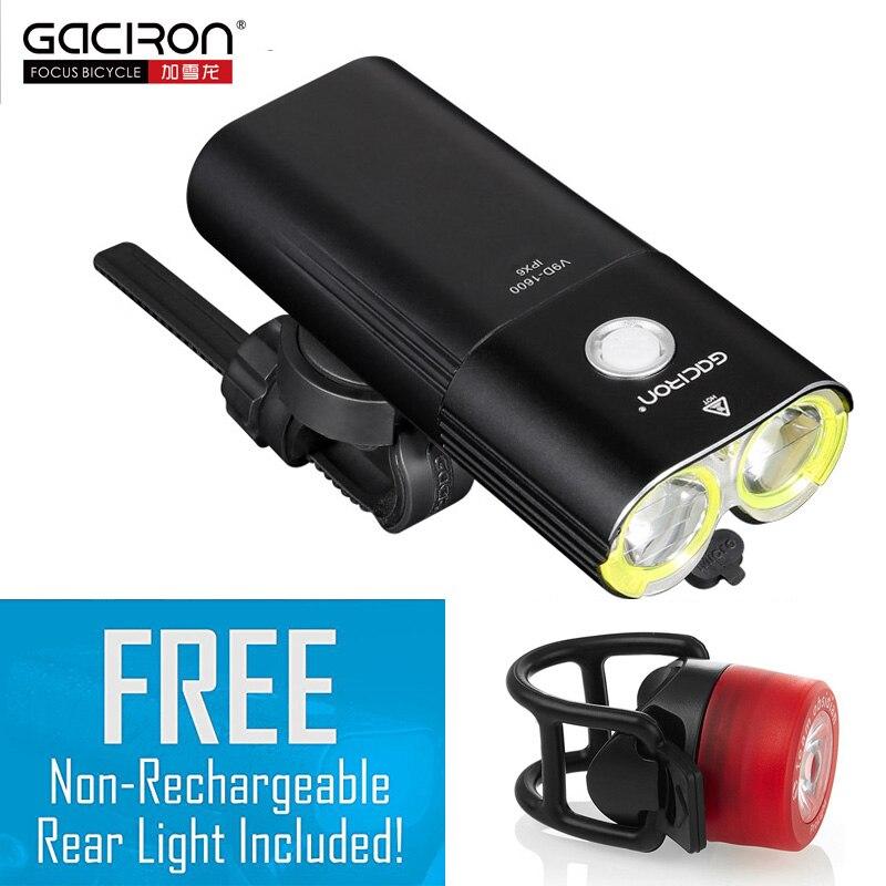 Gaciron 1600 люмен велосипед MTB света фар Мощность банк Водонепроницаемый USB Перезаряжаемые шоссейные велосипеды лампа фонарик Бесплатная фонар...