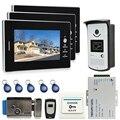 JERUAN 7`` LCD Screen Video DoorPhone Intercom System 3 Monitors +700TVL RFID Access Camera+ E-lock In Stock for 3 house