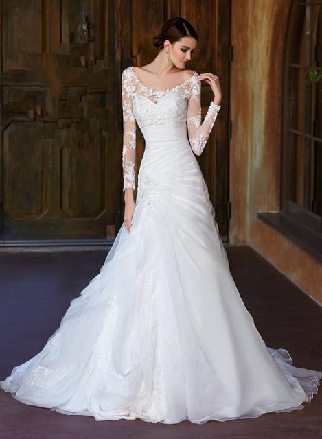 elegante color beige manga larga vestidos de novia de organza