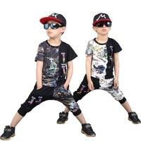 Boys Summer Casual Outfit Novelty Print Sweatshirt and Harem Pants Hip Hop Clothing Sets