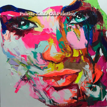 Hand painted Francoise Nielly Palette knife portrait Face Oil painting Character figure canva wall Art picture15-29