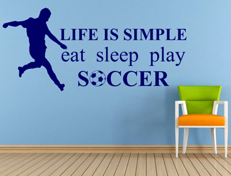 Soccer Player and Words Wall Sticker Life Is Simple Eat Sleep Play Soccer  Vinyl Wall De ...