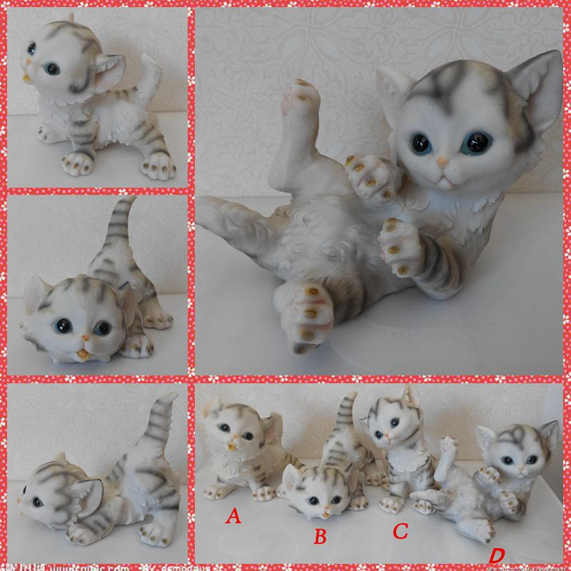 Free shipping Lifelike White Cat Figures Resin toys 4styles vivid Kitten cake home office car decoration party supply gifts
