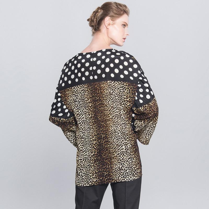 POKWAI moda de manga larga de seda camisas de las mujeres Tops de lujo de calidad de marca Patchwork leopardo imprimir blusa o cuello Undies - 2