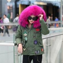 2016 настоящее шуба зимняя куртка женщины мех енота куртка с натуральный мех капот вышивка Военная пальто манто femme abrigos mujer