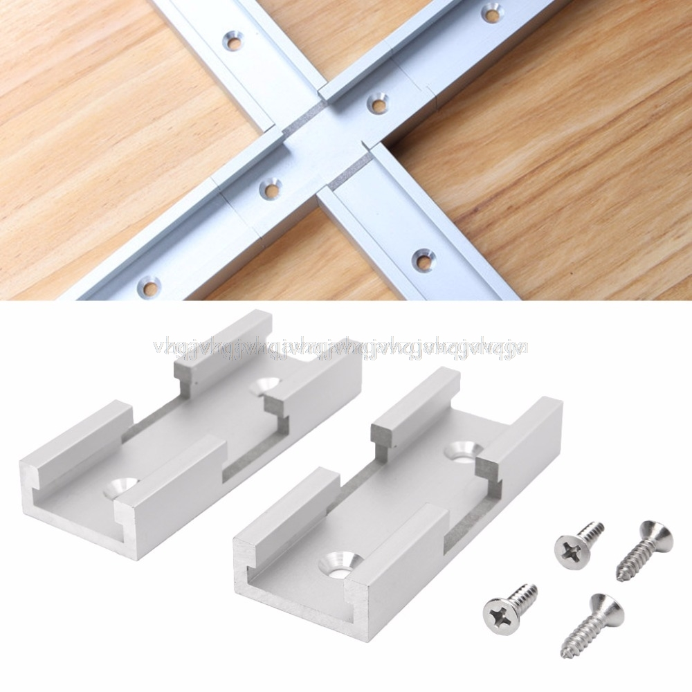2Pcs T-Track Intersection Kit Aluminum T-Slot Connecting Parts Woodworking Tools JUN28 Dropship
