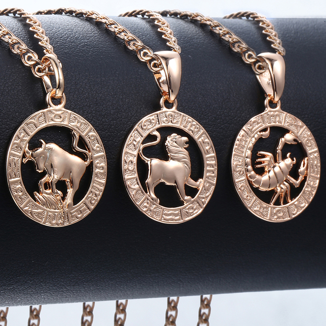 Trendsmax 12 Zodiac Sign Constellations Pendants Necklaces For Women Men 585 Rose Gold Male Jewelry Fashion Birthday Gifts GPM16