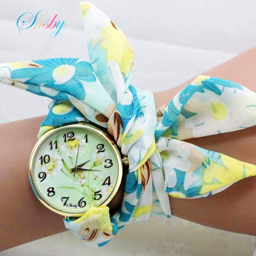 схсби уникатна дама сунцокрета тканина ручни сат модни женска хаљина сат Силки шифон тканина сат слатке девојке наруквица сат