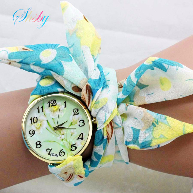shsby unique Ladies sunflower cloth wristwatch fashion women dress watch Silky c