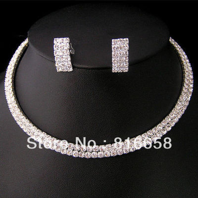 Free shipping@@Wedding/Bridal 2row crystal necklace choker earring set