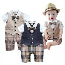 a587f47bdcaf 2017 Summer Baby Boys Clothes Tuxedo Rompers Shortall Baby Jumpsuit  Costumes Bebe Clothing One-Piece Vest Boties Body Suit Grid