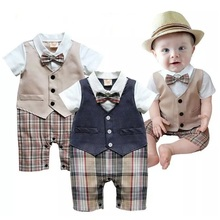 2017 Summer Baby Boys Clothes Tuxedo Rompers Shortall
