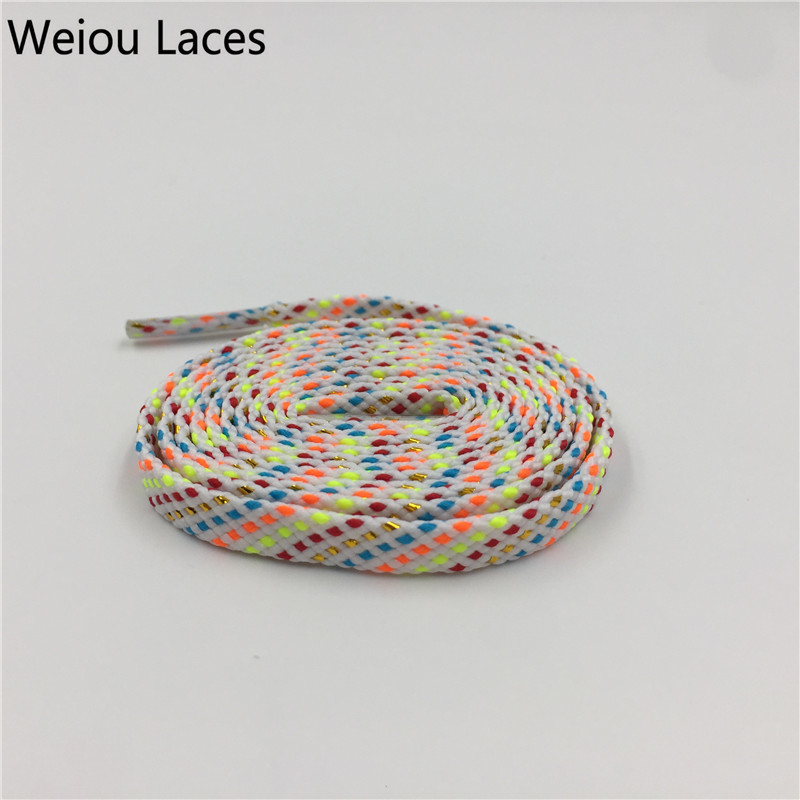 Official Weiou New Fashion Flat Glitter Shiny Gold Silver Bootlaces Metallic Yarn Striped Shoe Laces Cool For Dress Shoelaces Shoe Accessories
