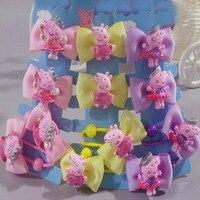 British Style Princess Mickey Pegga Pig Elastic Hair Bands With Baby BB Toddler Hair Clips Bow