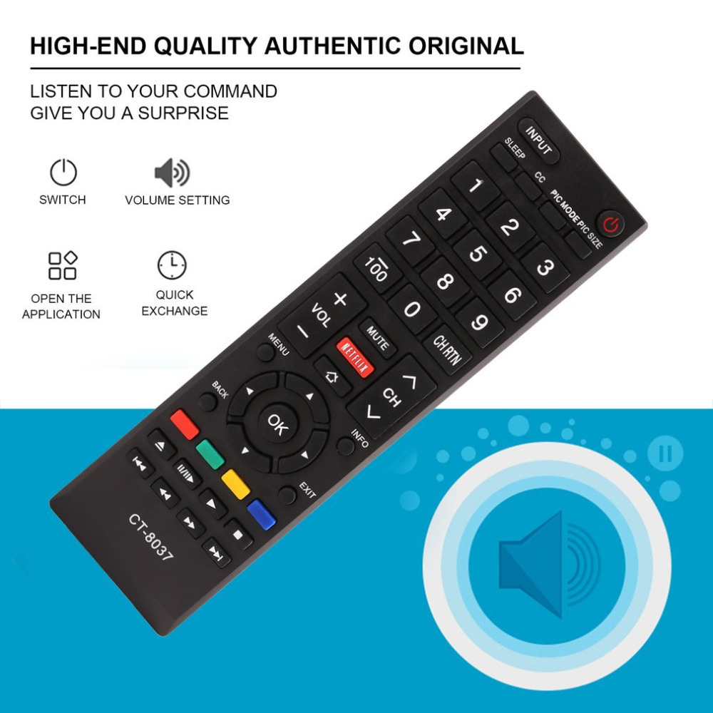 1 pcs TV Smart Remote Control Controller Perfect Replacement Fit For Toshiba CT-8037 Television Smart Remote Controller