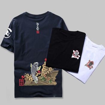 Японский стиль лето 2017 Мужская брендовая одежда мода Карп Рыба принт футболка 100% хлопок короткий рукав Фитнес Футболка