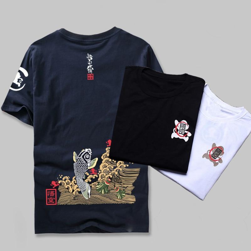 Estilo japonês Verão 2017 Roupas Masculinas Marca de Moda peixe Carpa T-Shirt de Impressão 100% Algodão de Manga Curta Camisa de Fitness T