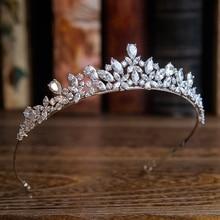 Nueva Llegada de la Alta calidad Europea Tocados de Novias Tiara Cubic Zirconia Crown Accesorios Para El Cabello de Noche