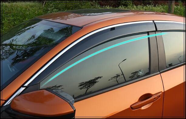 Supérieur star 4 pièces voiture Fenêtres pare-Pluie sourcil, abri de voiture avec garnitures brillantes avec logo pour Honda Civic 2016