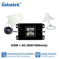 Lintratek GSM 900 1800 2G 4G Dual Band Cellular Booster Signal Repeater 900mhz DCS 1800mhz Amplifier Data Voice LTE Full Set dj