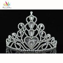 """Pavo real Estrella Nupcial Concurso de Belleza Del Desfile Grande Altura 6 """"(15 cm) de la Corona de La Tiara utilizar Cristal Austriaco CT1580"""