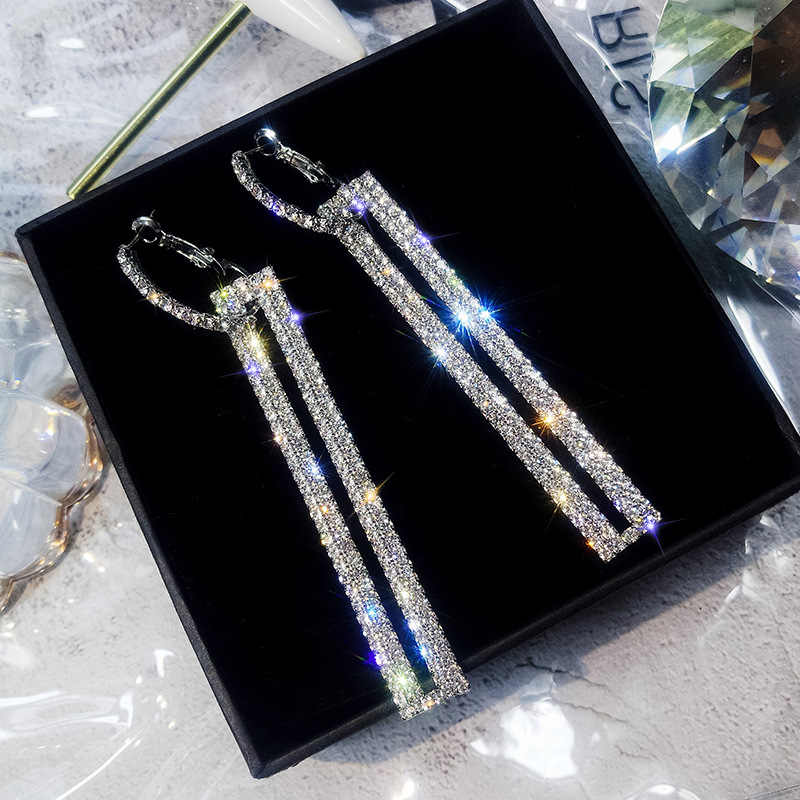 2019 new design fashion jewelry luxury full crystal earrings exaggerated rectangular earrings wedding party earrings for women