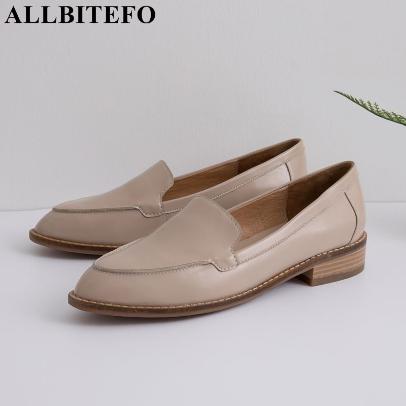 ALLBITEFO top quality natural genuine leather women flats sneakers shoes Spring fashion casual comfortable flat heel