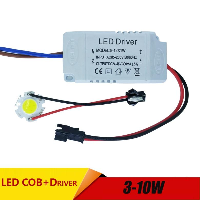 Купить с кэшбэком 3W 5W 7W 10W COB LED +driver power supply built-in constant current Lighting 85-265V Output 300mA Transformer DIY high brightnes