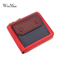Cute Smile Wallet Women Purse Patchwork Brand Coin Purse Zipper Girls Short Wallet Women Quality Leather