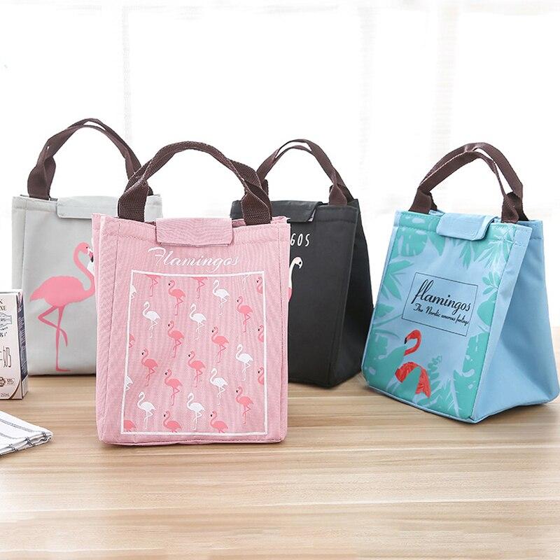 1pc Flamingo Tote Thermal Bag Waterproof Oxford Lunch Bag Food Picnic Storage Bag Women kid Men Cooler Bag