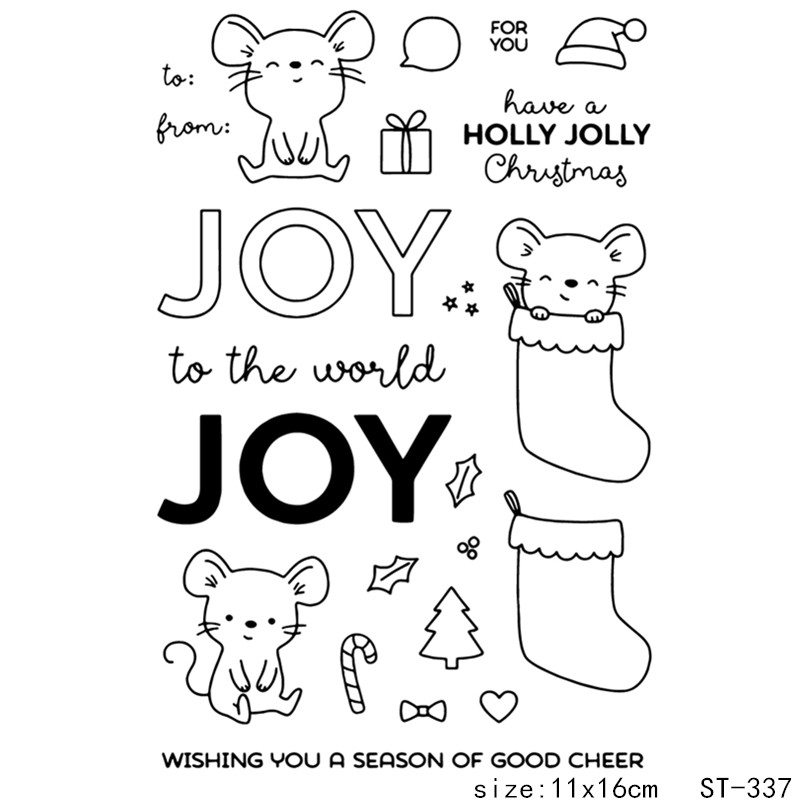 AZSG Cartoon Style Joyful Mouse Clear Stamps For DIY Scrapbooking Card Making Album Decorative Silicon Stamp Crafts in Stamps from Home Garden