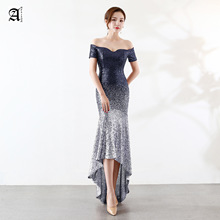Ameision New Arrival Short Front Long Back Mermaid Evening Dress Fashion Gradient Color Sequin Party Dinner