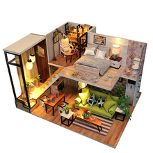 SLPF Assemble DIY Wooden House Toys Doll Houses Miniature Dollhouse With Furniture LED Lights Children Birthday Gift J15