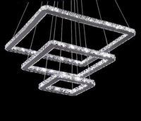 Crystal Lustre Square Chandelier Stainless steel Pendant Lamps For Home Lighting Fixtur Hanglamp Suspension Luminaire 110v 260v